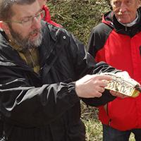 Dr. Matthias Mann erklärt die Faltenbildung des Schiefergebirges anhand eines Kuchens, BA Beate Graumann