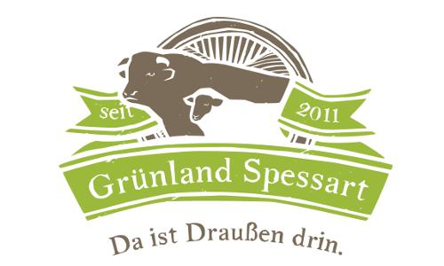 """GS logo 4c braun gruenb 10 Jahre """"Grünland Spessart – Da ist draußen drin!"""""""