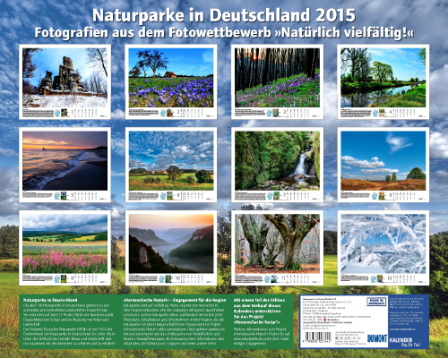 "Kalender Dumont Rückseite beitrag ""Naturparke im Großformat""   DuMont Fotokalender 2015"