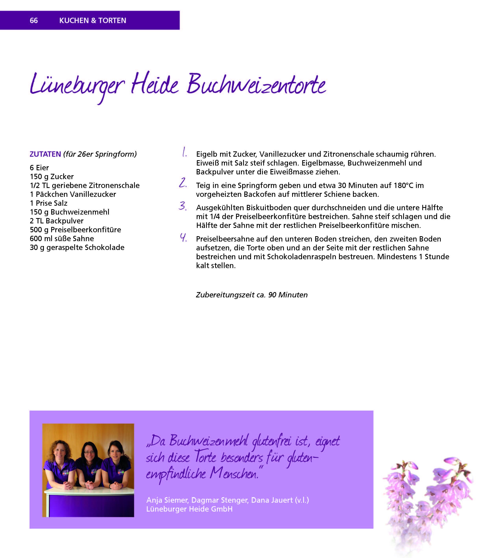 Kochbuchseite mit Buchweizentorte Seite 1 Buchweizentorte aus dem Naturpark Lüneburger Heide