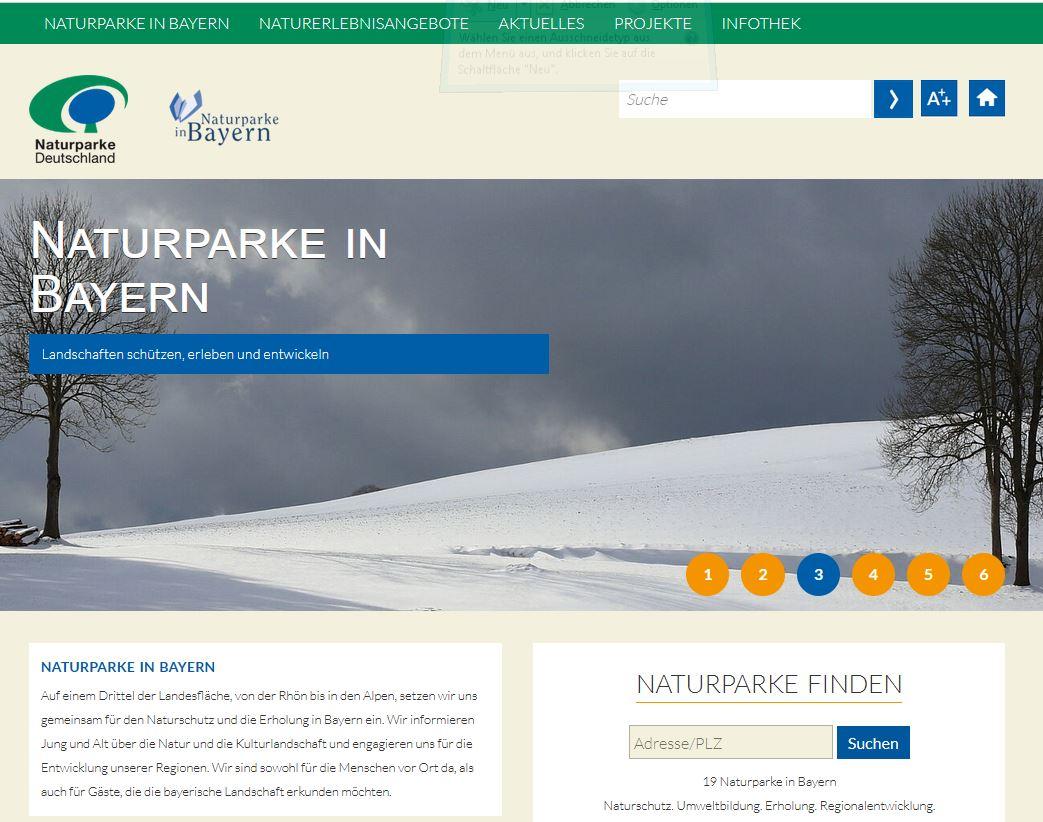 Screenshot Bayern Bundeslandseite Naturparke in den Bundesländern