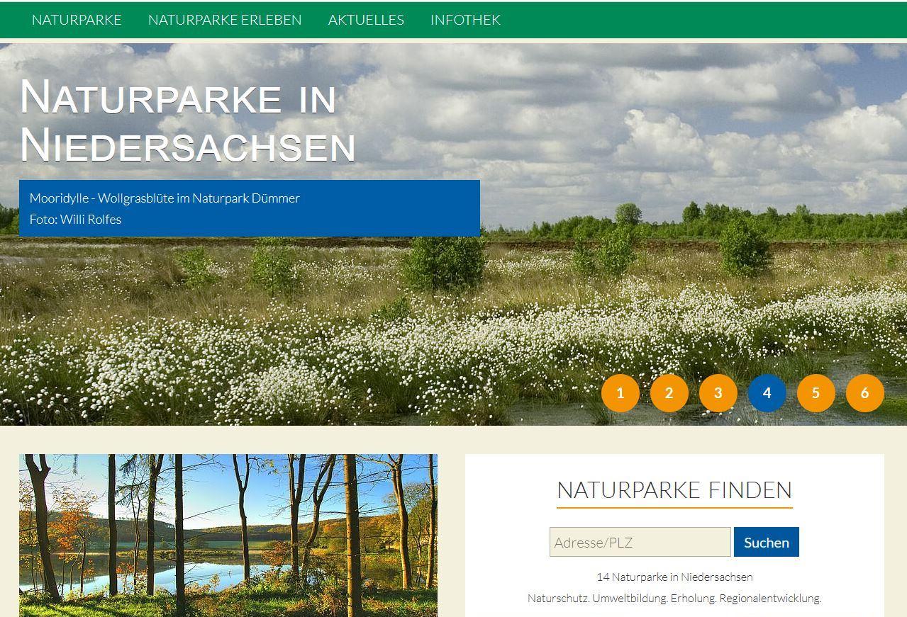 Screenshot Niedersachsen Bundeslandseite1 Naturparke in den Bundesländern