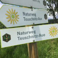 Wegweiser am Naturweg Teuschnitz_Aue © Naturpark Frankenwald / Anja Wunder