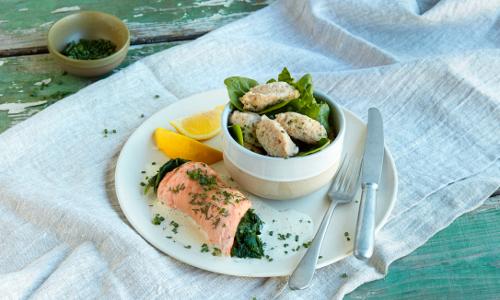recipe2766734 lachs spinat mangold roulade naturparke beitrag Lachs Spinat Roulade mit Honig Senf Lias und Dinkel Gnocchi